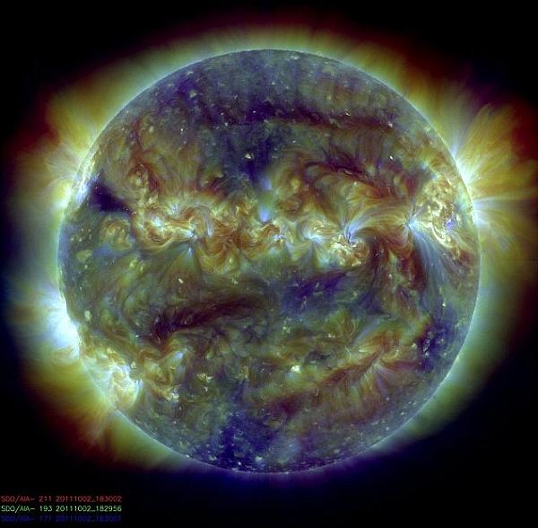 Объединенные все три снимка Солнца
