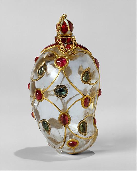 Хрустальная емкость, Индия, середина 17-го века, рубины, изумруды, золото, эмаль