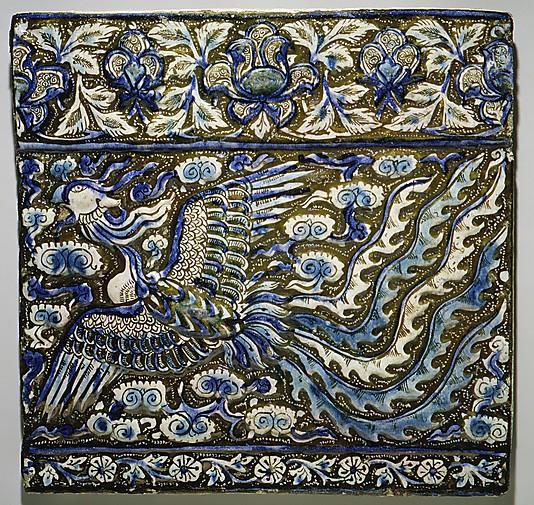 Глазурованная плитка, с изображением птицы Феникс, Иран, конец 13-го века