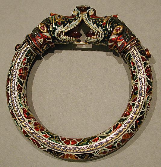 Браслет, Индия, 19 век, эмаль, золото, рубины, изумруды, бриллианты, агаты