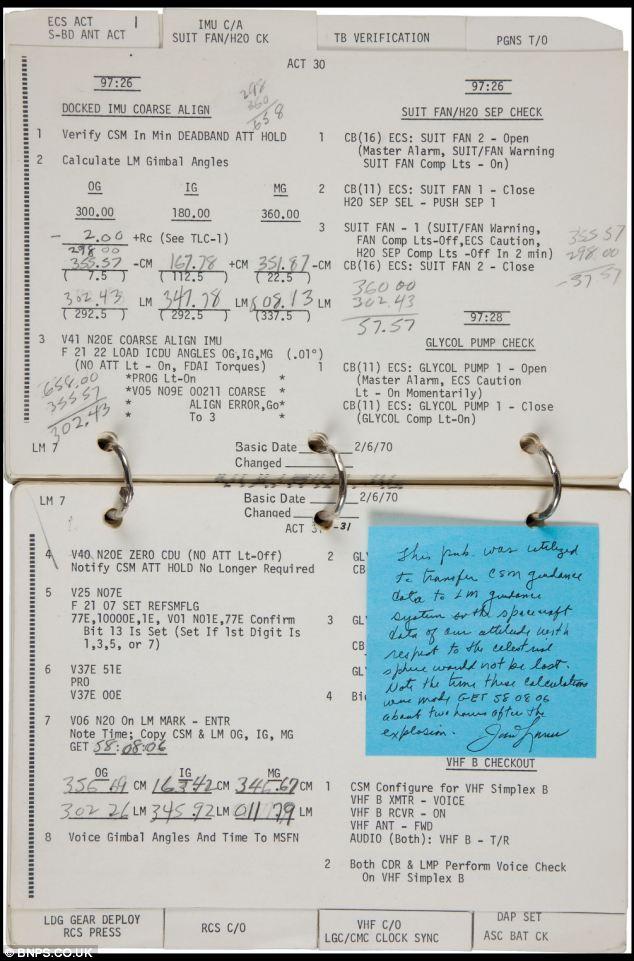 70 страниц инструкций из 59 процедур, которые необходимо выполнить для активации лунного модуля идут с молотка