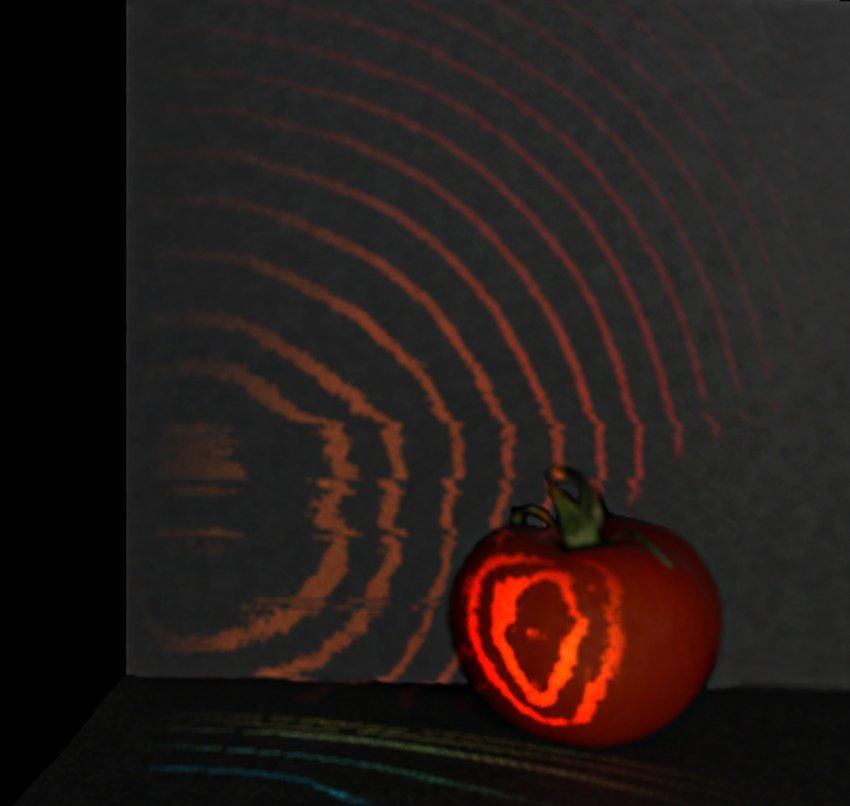 Камера отслеживает прохождение лазера через помидор