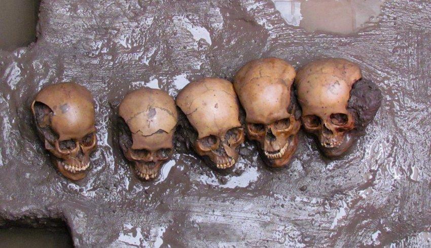 Черепа людей, которые были принесены в жертву