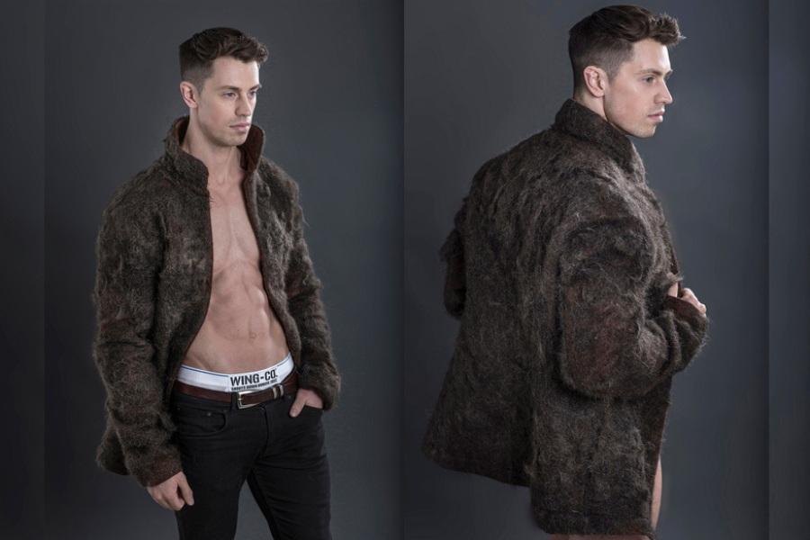 Стильное пальто из мужских волос
