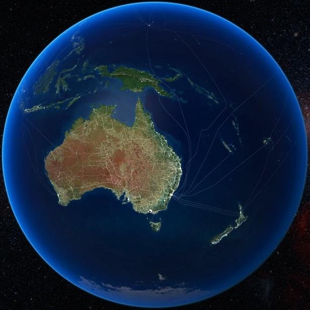 Автомобильные и железные дороги в Австралии, а так же подводные кабели для передачи данных