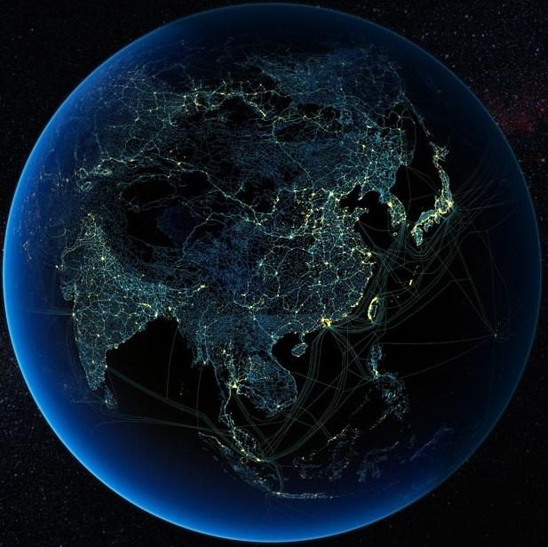 Присутствие технологий человека в Азии