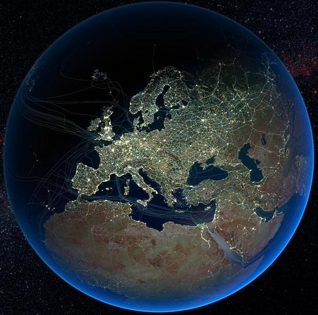 Автомобильные и железные дороги, а так же ночные освещенные города в Европе и подводные кабели