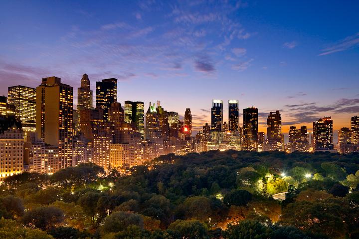 Ночной Нью-Йорк, с высоты птичьего полета, фотограф Evan Joseph, Fifth Avenue Residence, Central Park