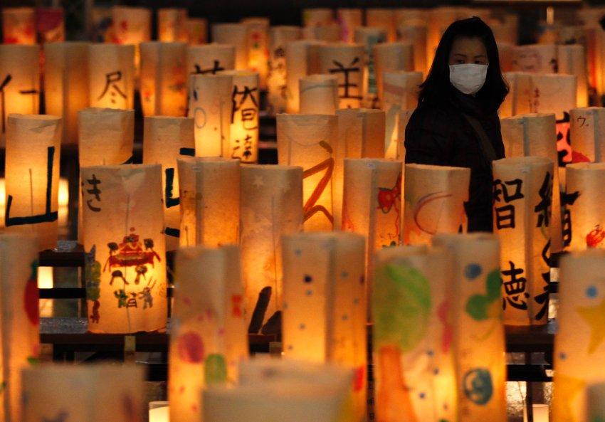 Префектура Фукусима, бумажные фонарики, зажженные в память о погибших и пропавших без вести
