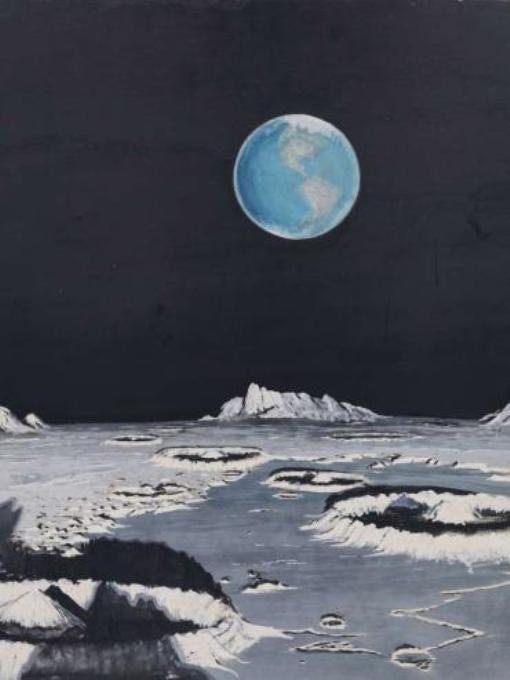 Рисунок 1969 года. Вид на Землю с Луны