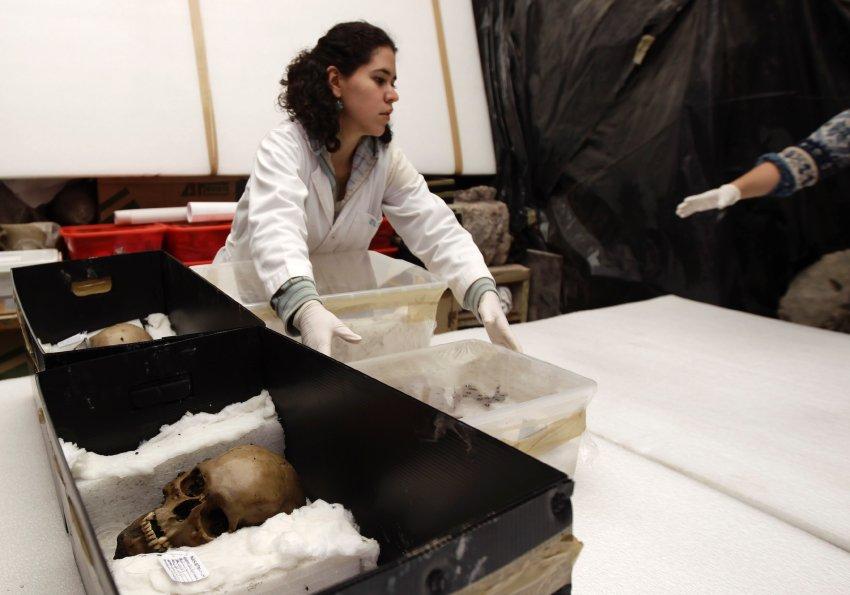Археологи изучают обнаруженные черепа