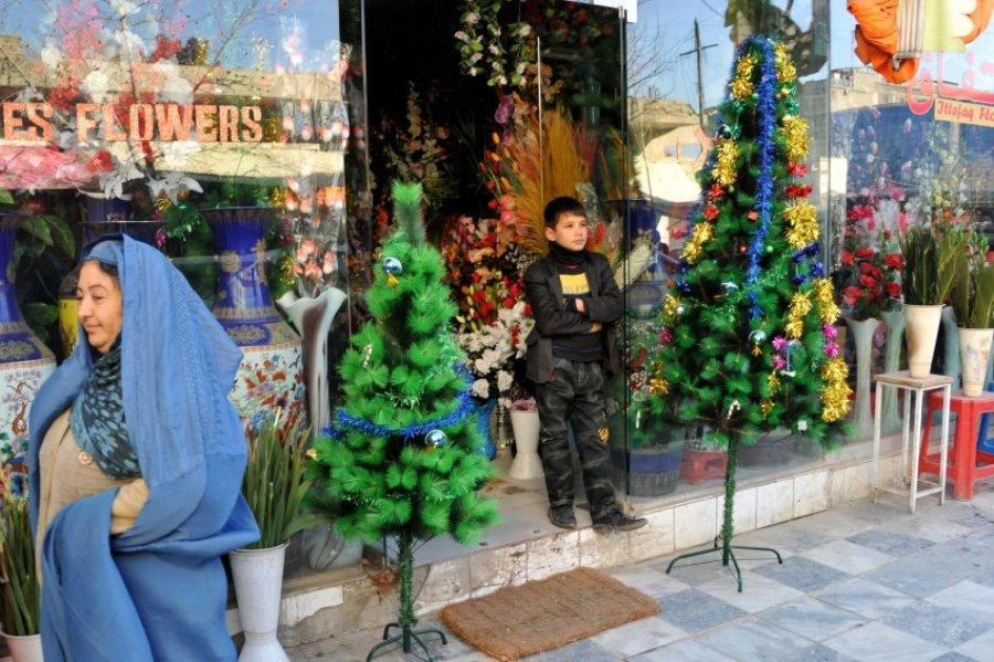 В Кабуле (Афганистан) нет старинных рождественских традиций. Елки продают в основном для иностранцев.